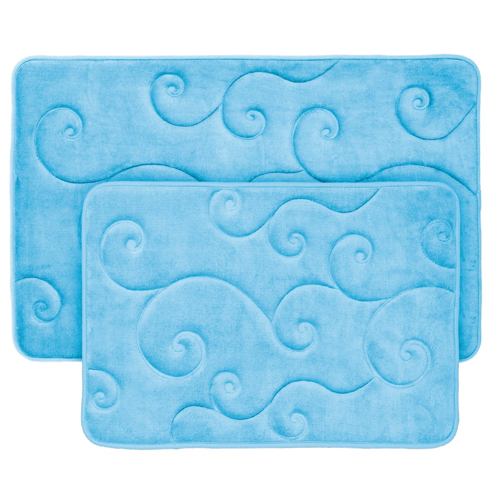 Image of 2pc Swirl Memory Foam Bath Mat Blue - Yorkshire Home
