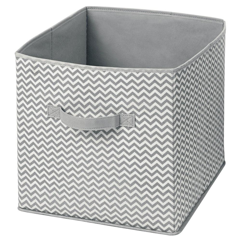 InterDesign Chevron Fabric Foldable Nursery Storage Cube - Gray/Cream, Large