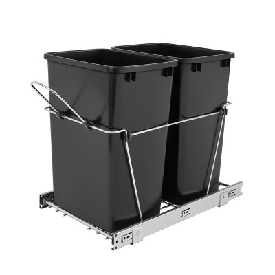 Rev-A-Shelf RV-18KD-18C S Double 35 Quart Sliding Pull-Out Waste Bin Containers