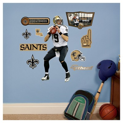 NFL New Orleans Saints Drew Brees Fathead Wall Decal Set