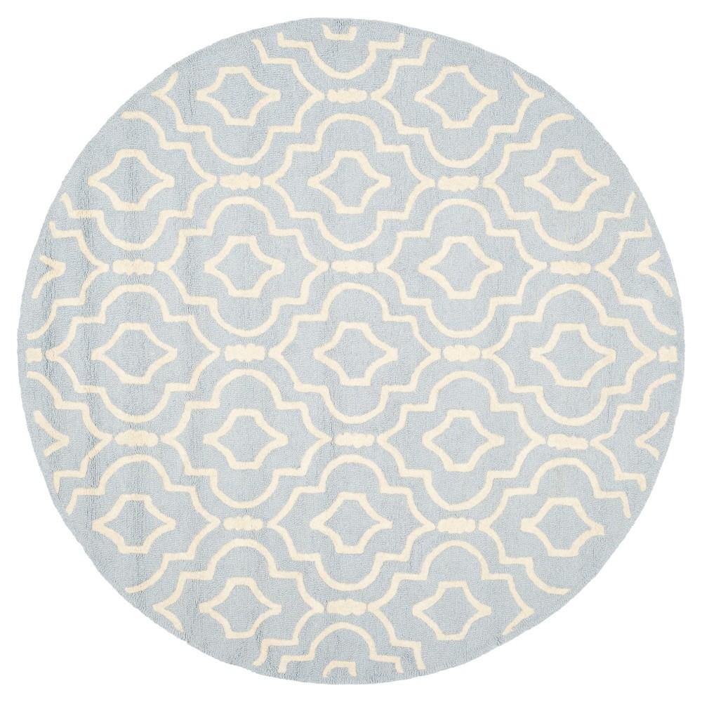 Tahla Texture Wool Rug - Light Blue / Ivory (6' X 6' Round) - Safavieh, Light Blue/Ivory