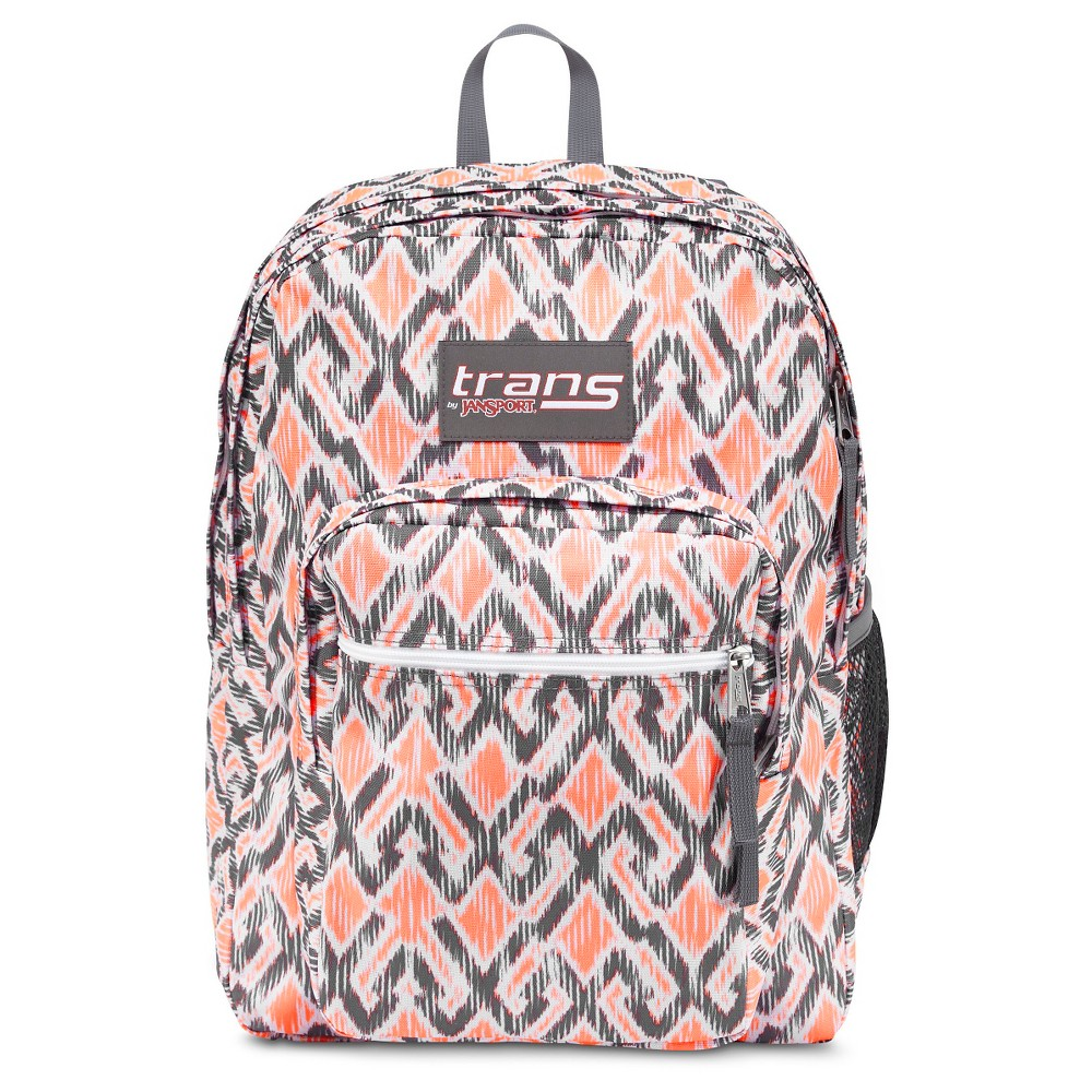 Trans By JanSport 17 SuperMax Backpack - Gray/Coral, Gray Stripe