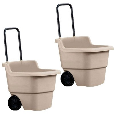 Suncast 15 Gallon Poly Multipurpose Rolling Lawn and Garden Cart, Taupe (2 Pack)