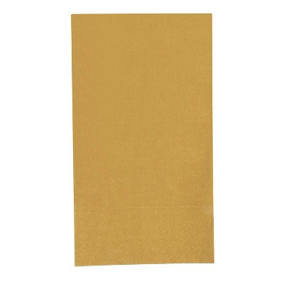 "Blue Panda 120-Pack Gold Disposable Paper Napkins Brown Folded 7.5""x4.3"" Party Supplies"