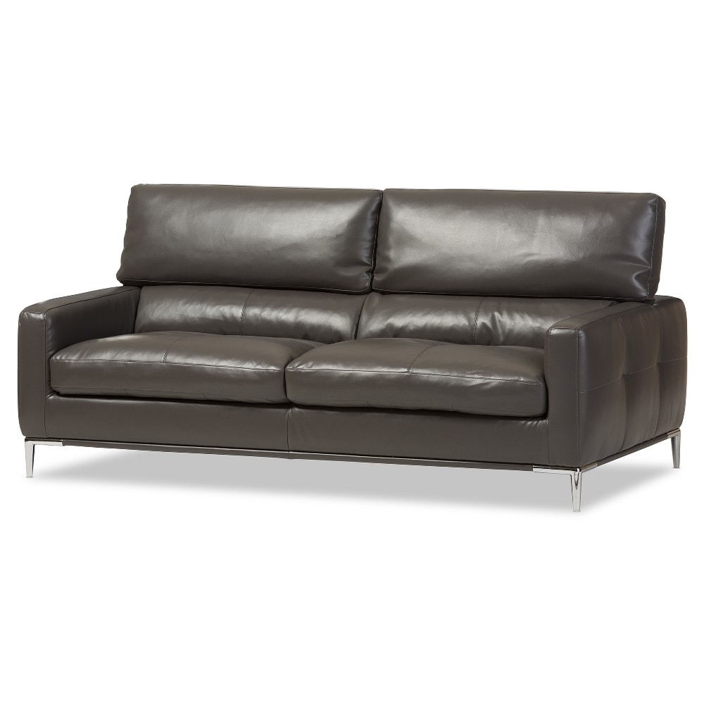 Vogue Modern and Contemporary Pewter Bonded Leather Upholstered Living Room 3 - Seater Sofa - Dark Gray - Baxton Studio, Dark Grey