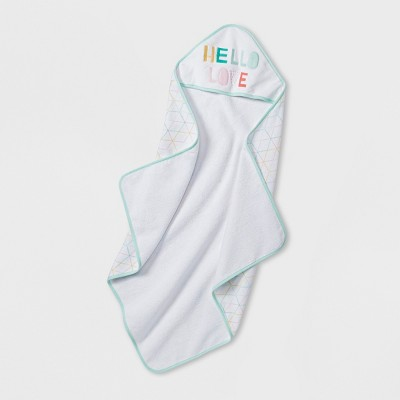 Baby Girls' Hello Love Hooded Towel - Cloud Island™ Mint One Size