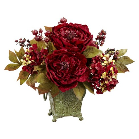 Nearly Natural Peony & Hydrangea Silk Flower Arrangement - image 1 of 1