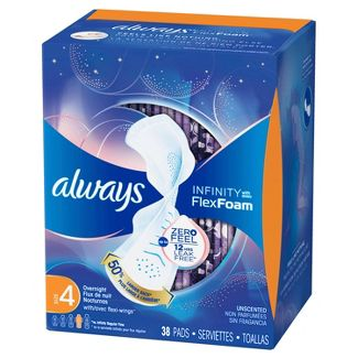 Always Infinity Size 4 Unscented Overnight Sanitary Pads with Wings - 38ct