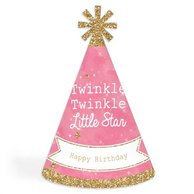 Big Dot of Happiness Pink Twinkle Twinkle Little Star - Cone Happy Birthday Party Hats for Kids and Adults - Set of 8 (Standard Size)