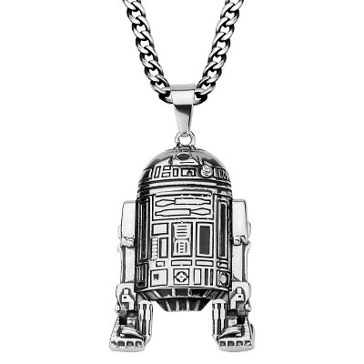 """Men's Star Wars Stainless Steel 3D R2-D2 Pendant with Chain (22"""")"""