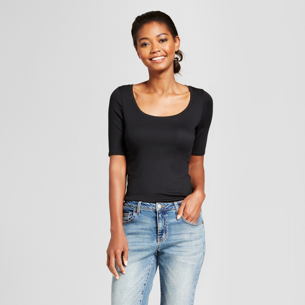 Women's Elbow Length Fitted T - Shirt - A New Day Black S