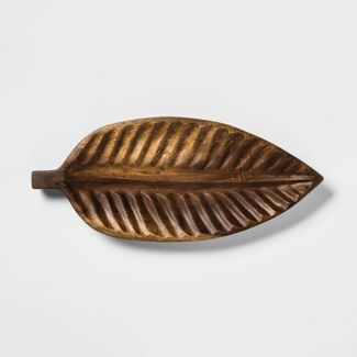 "20.5"" x 9"" Wooden Leaf Tray Brown - Threshold™"