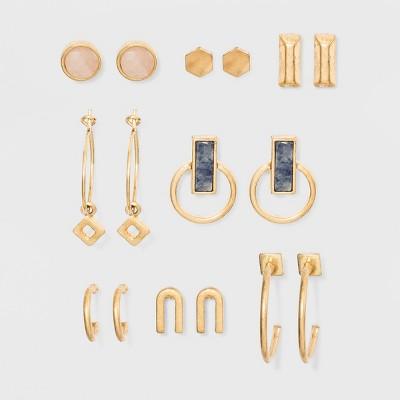 Semi-Precious Sodalite & Pink Moonstone Earring Set 8pc - Universal Thread™ Gold