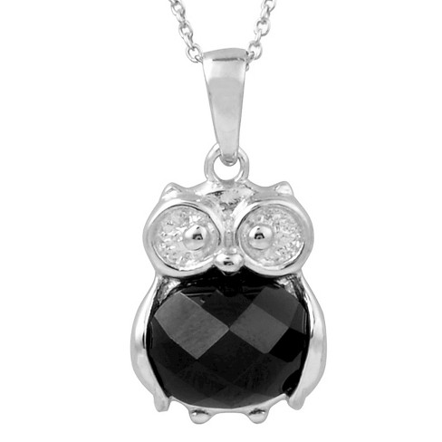 1/2 CT. T.W. Oval-Cut Cubic Zirconia Pave-Set Owl Necklace in Sterling Silver - Black - image 1 of 2