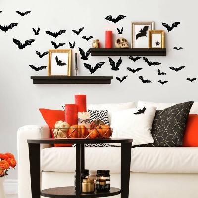 Halloween Bats Peel and Stick Wall Decal Black - RoomMates