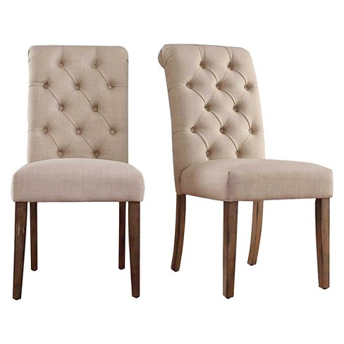 Gramercy Button Tufted Dining Chair Wood/Oatmeal (Set of 2) - Inspire Q - image 1 of 7