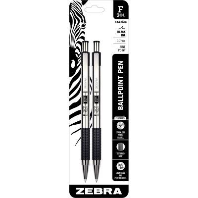 2ct F-301 Ballpoint Pens Black Ink Fine .7mm - Zebra