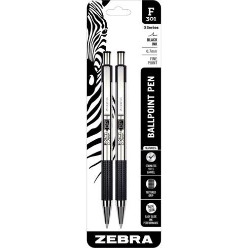 2ct F-301 Ballpoint Pens Black Ink Fine .7mm - Zebra - image 1 of 2