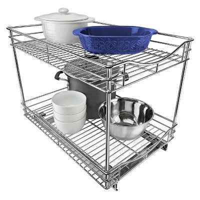 "Lynk Professional 14"" x 18"" Slide Out Double Shelf - Pull Out Two Tier Sliding Under Cabinet Organizer"