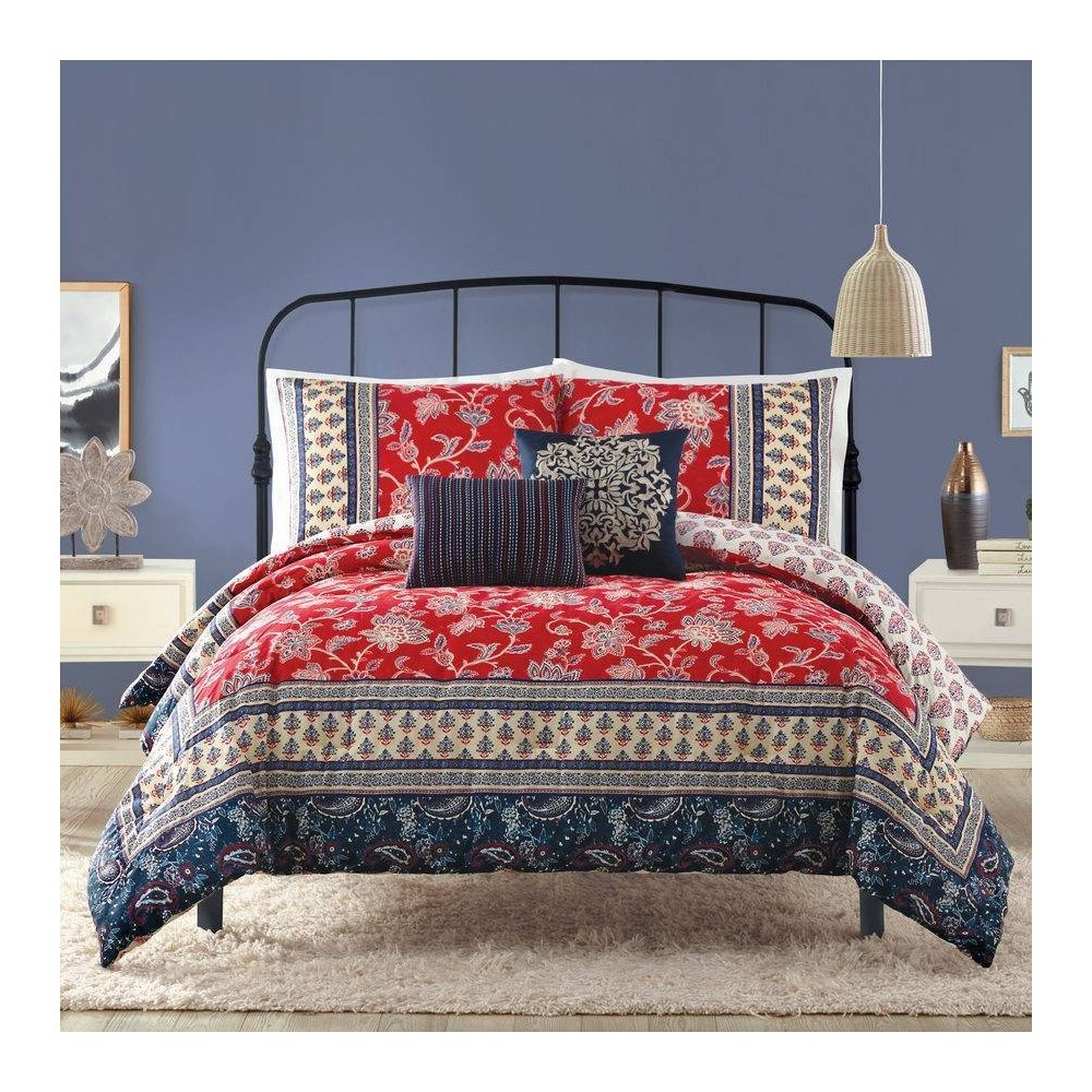 Image of Indigo Bazaar King 5pc Marbella Comforter & Sham Set Red