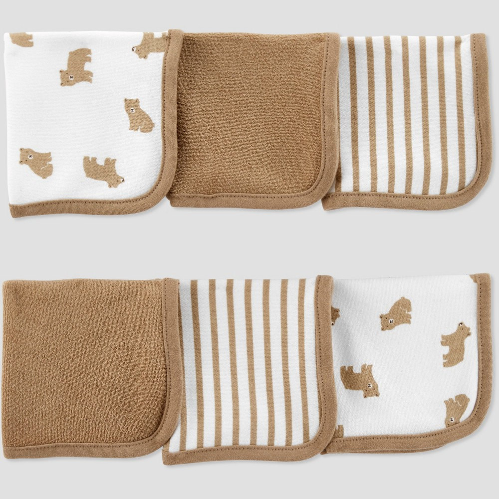 Image of Baby Boys' Bear Washcloth Set - Just One You made by carter's Brown/White