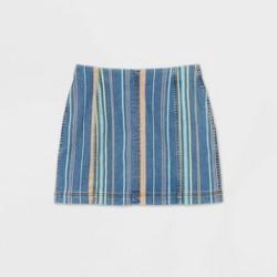 Women's Striped High-Rise Seamed Denim Mini Skirt - Wild Fable™ Blue