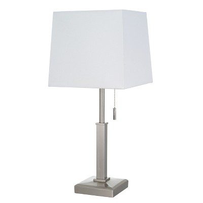 Square Stick With Outlet Table Lamps Nickel (Includes Energy Efficient Light Bulb)- Threshold™