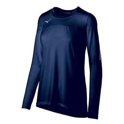 Mizuno Womens Semi Fit Long Sleeve Crew Athletic T-shirt - Blue Large