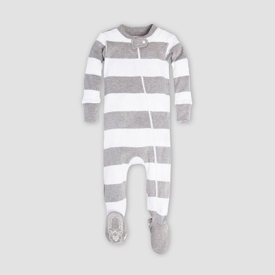 Burt's Bees Baby® Baby Rugby Stripe Organic Cotton Footed Pajama - Gray