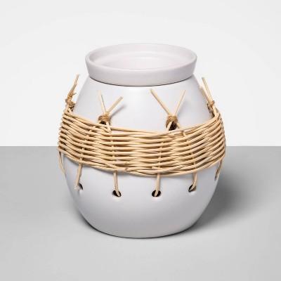 "5.2"" x 5.2"" Stoneware & Woven Wax Warmer White - Opalhouse™"