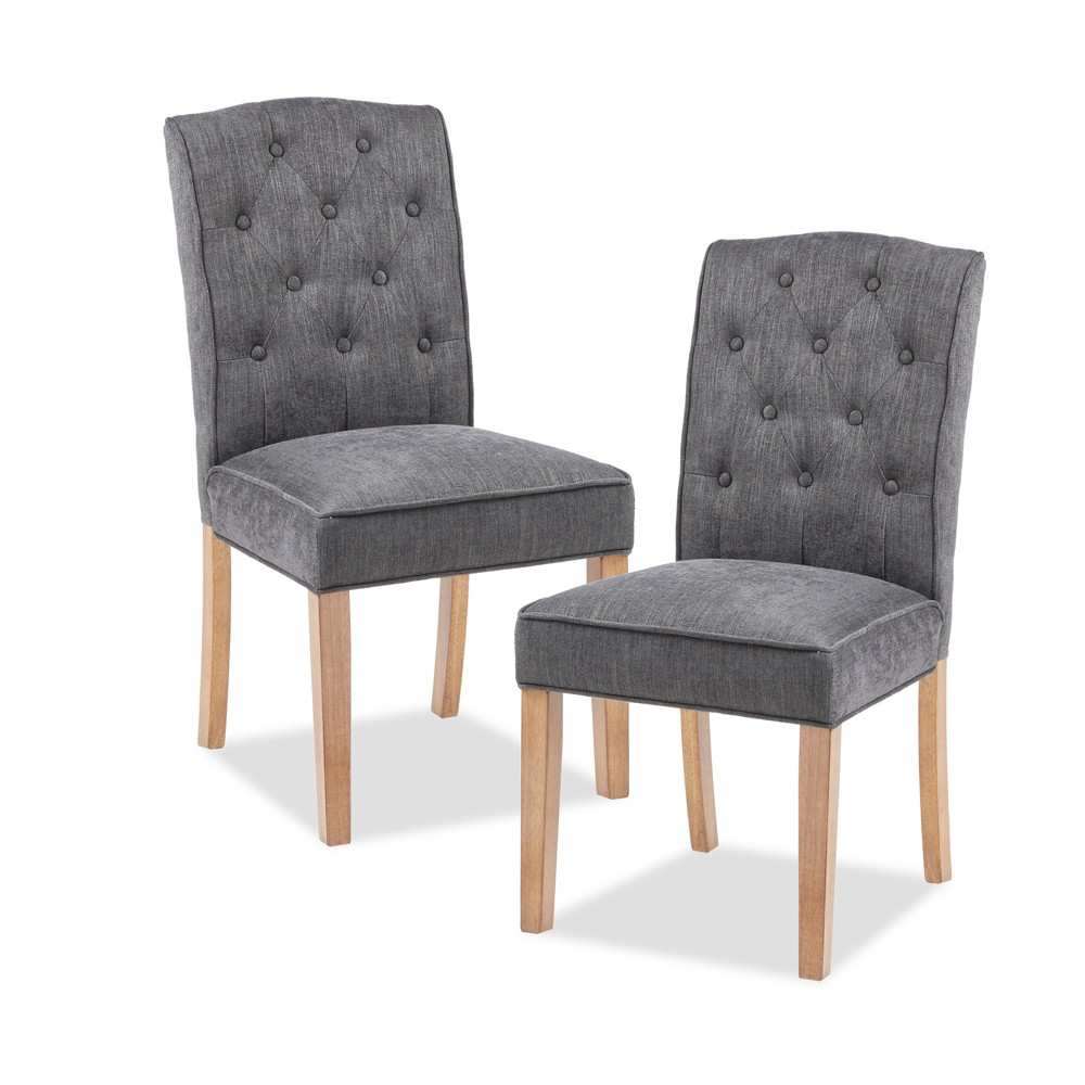 Set of 2 Khloe Tufted Dining Chair Charcoal (Grey)