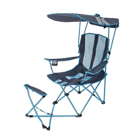 Kelsyus Original Canopy Shade Folding Camping Chair With Ottoman Blue 2 Pack Target