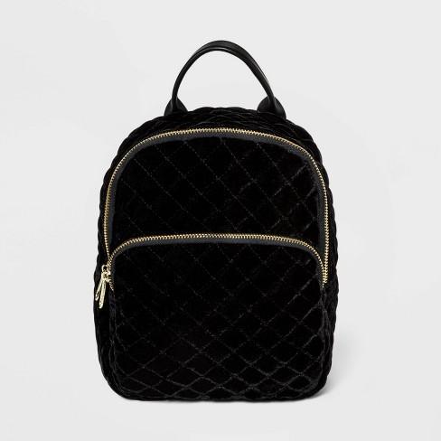 Girls' Quilted Velvet Mini Backpack - art class™ Black - image 1 of 2