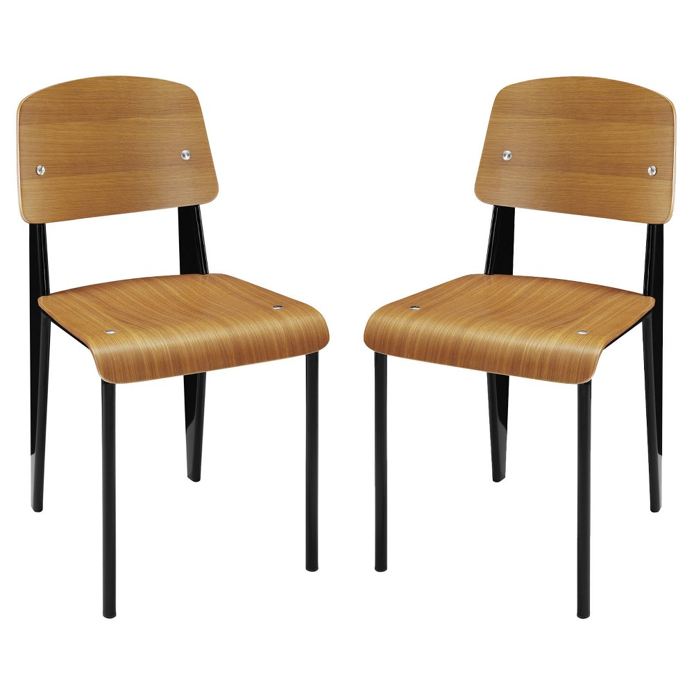 Side Chair Set Of 2 Walnut Brown Modway