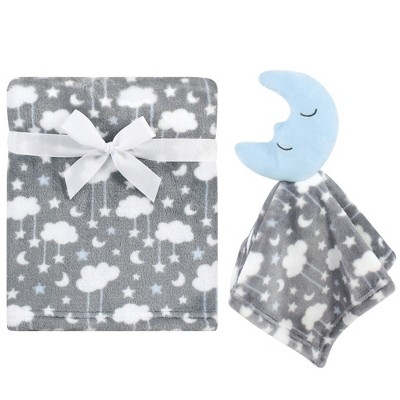 Hudson Baby Infant Boy Plush Blanket with Security Blanket, Moon Boy, One Size