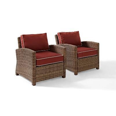 Bradenton 2pk Outdoor Wicker Chair Set - Sangria - Crosley