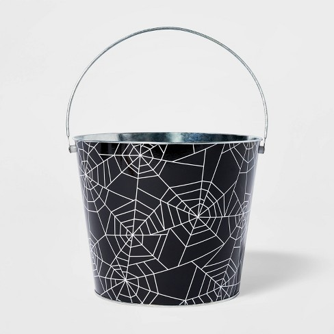 "8"" Round Web Halloween Tin Bucket - Hyde & EEK! Boutique™ - image 1 of 1"