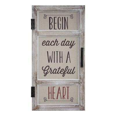 "12"" x 23"" Begin Each Day with a Grateful Heart Wood and Metal Window Door Wall Sign Beige - American Art Decor"
