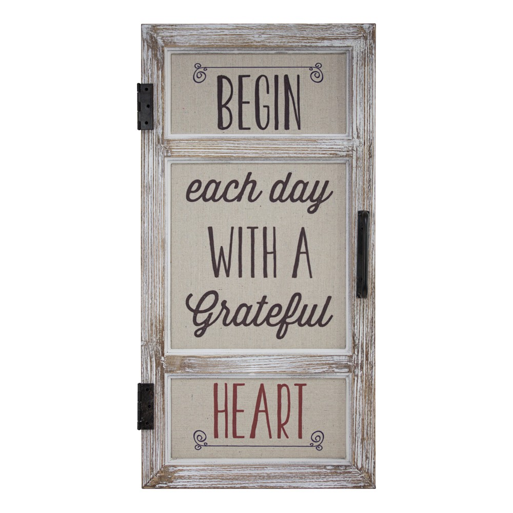 Image of 'Begin Each Day With A Grateful Heart' Metal And Wood Wall Decor Beige - E2 Concepts