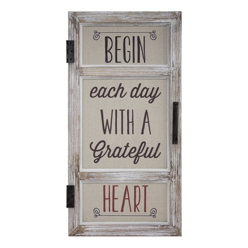 Begin Each Day With A Grateful Heart Metal And Wood Wall Decor Beige E2 Concepts