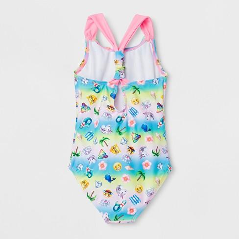 3edb32f883 Girls  Emoji Beach Party One Piece Swimsuit   Target