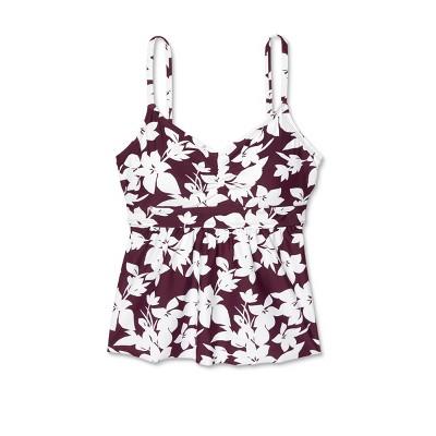 Women's Post-Mastectomy Bralette Sweet Escape Tankini Top - Kona Sol™ Burgundy