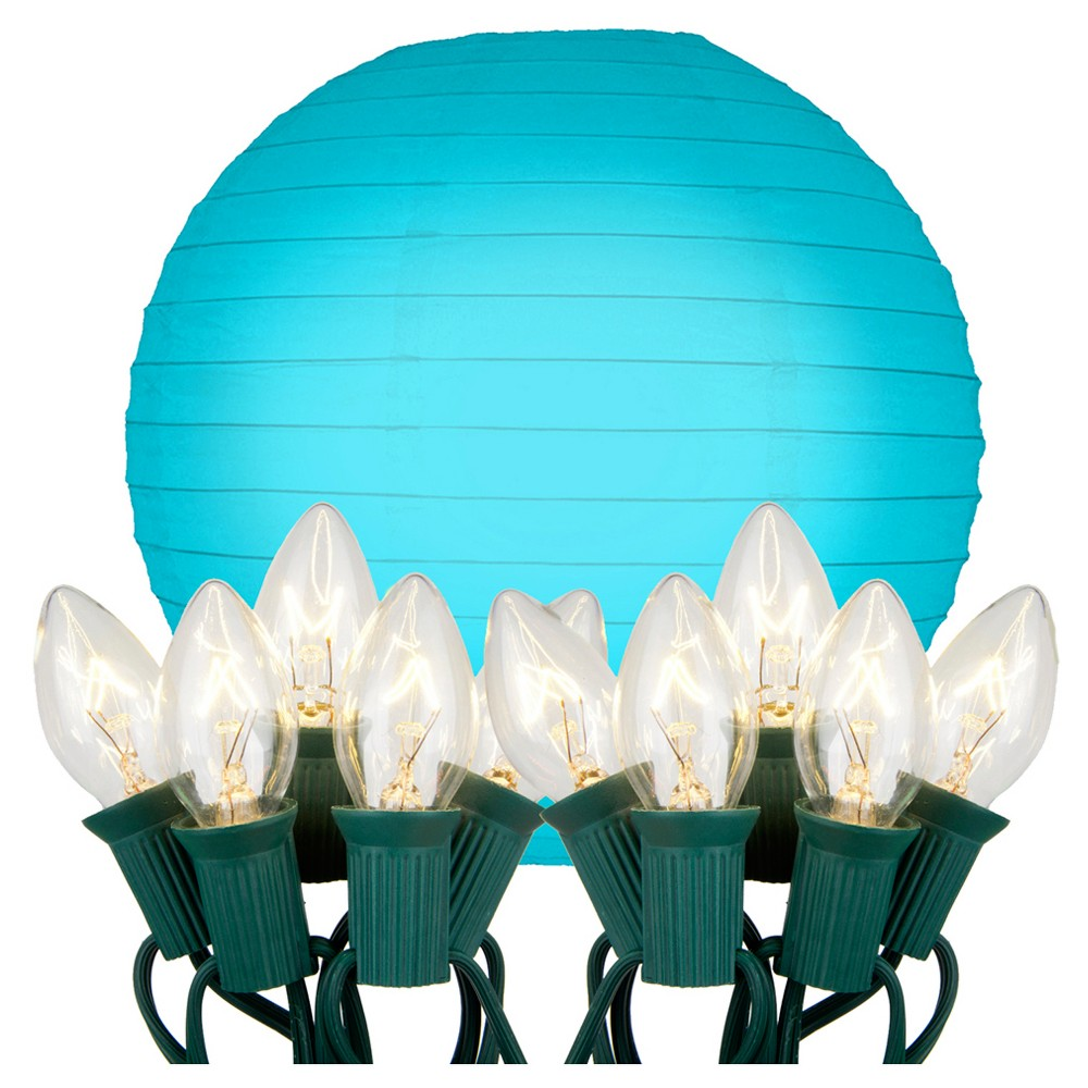 "Image of ""10ct 10"""" Electric String Light with Paper Lanterns Turquoise"""