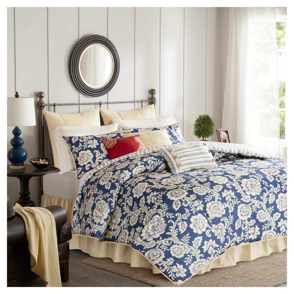 Navy (Blue) Rose Cotton Twill Duvet Cover Set (California King) 9pc