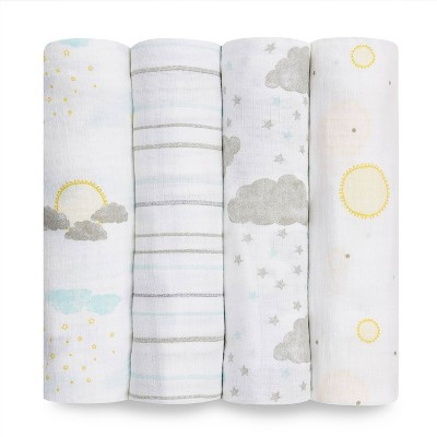 Aden + Anais Essentials Muslin Swaddles Partly Sunny - 4pk