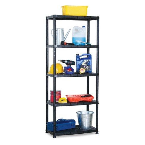 Ram Quality Products Platin 15 inch 5 Tier Plastic Storage Shelves, Black - image 1 of 4