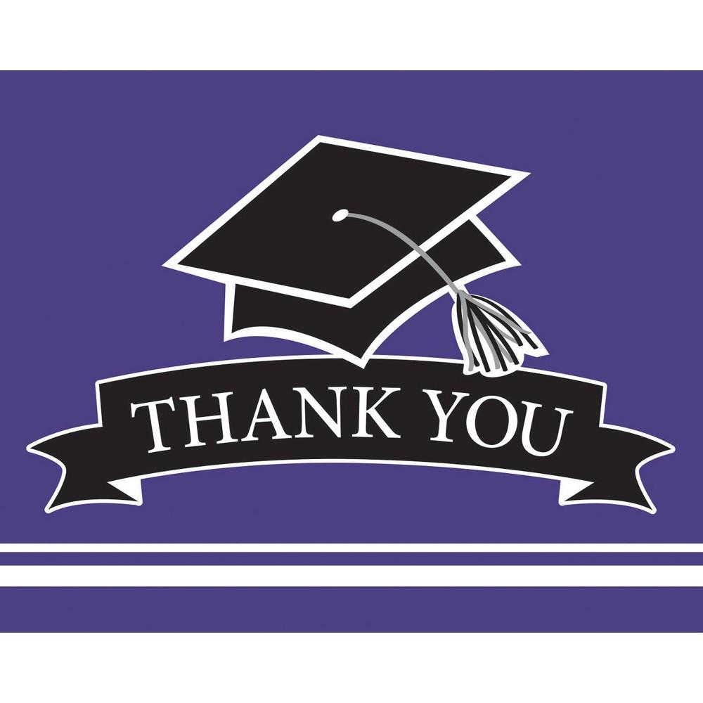 25ct Purple Graduation School Thank You Notes