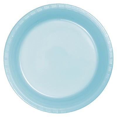 "Pastel Blue Plastic 7"" Dessert Plates - 20ct"