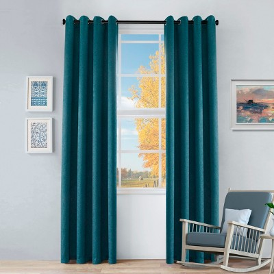 Solid Textured Thermal Room Darkening Blackout Grommet Curtain Panels by Blue Nile Mills