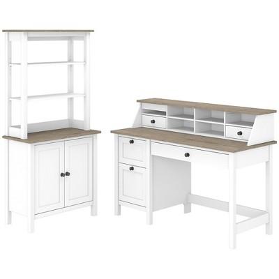Bush Furniture 54 Computer Desk Desktop Organ & 5-Shelf Bookcase White/Shiplap Gray MAY009GW2